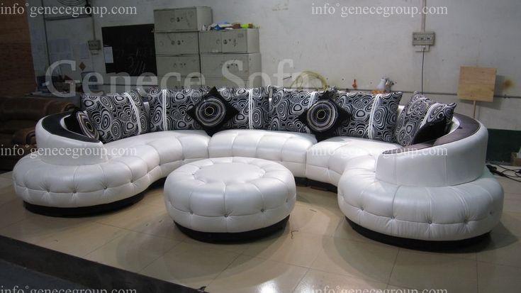 Arc Shape Top Grain Genuine Leather Sofa High Quality
