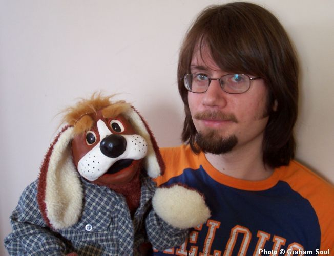 In my late 20's with a puppet that I made during a workshop instructed by Noreen Young, early to mid 2000's.