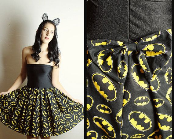 Handmade BATMAN Dress BATMAN Clothing Diy Womens by lynnsrags