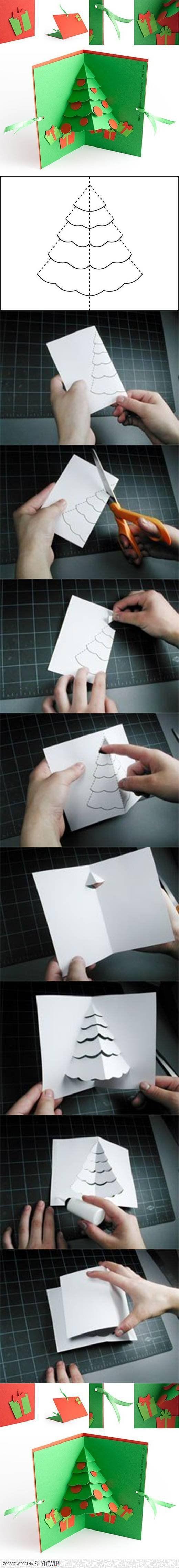 DIY Christmas Tree Pop Up Card DIY Projects | UsefulDIY… na Stylowi.pl