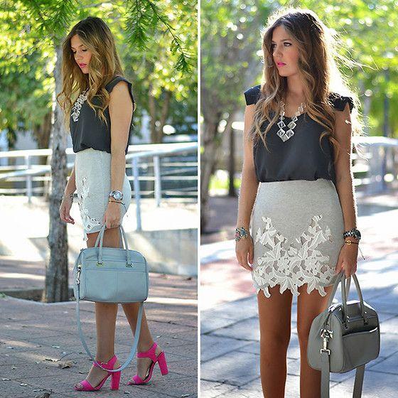 Helena Cueva - Mango Top, Zara Skirt, Primark Sandals, Zara Handbag, Parfois Bracelets - Gray & Pink