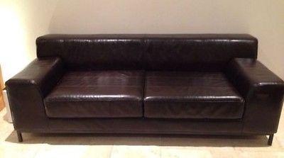 For sale -IKEA Kramfors Dark Brown Leather 3 Seater Sofa