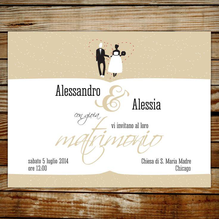 wedding invitations,bride and groom illustration, partecipazione matrimonio, illustrazione sposi, boda, minimal art by graficious on Etsy