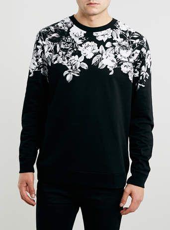 Black Floral Printed Neck Sweatshirt