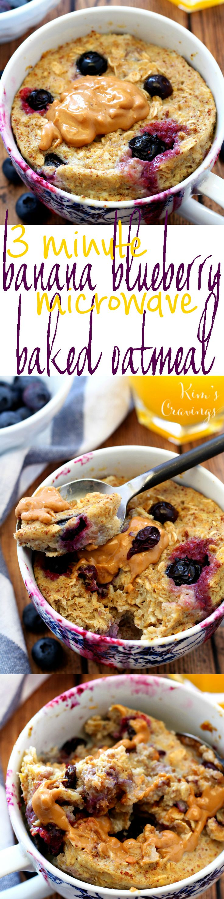 "3 Minute Blueberry Banana Microwave ""Baked"" Oatmeal in a Mug- a quick, easy and oh so scrumptious gluten-free breakfast!"