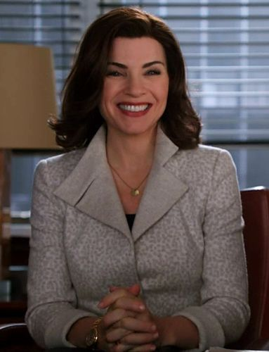 """The Good Wife Fashion Credits: What Julianna Margulies Wore  Season 4, Episode 13 Akris Jacket """"She does love winter whites so beautifully!"""" said Lawson. """"This cream cashmere jacket looked beautiful. I had the collar stand on it because it framed her face."""" A Cartier gold watch completed the look."""