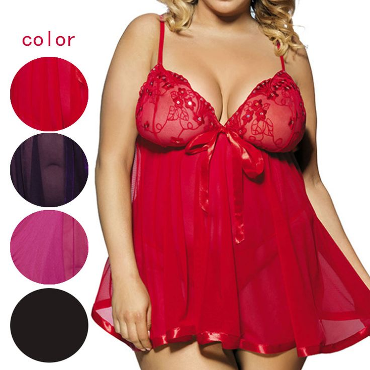 Plus Size 5XL 6XL Sexy Women Mesh See Through Intimate Underwear Erotic Lingerie Dress With G-String JL