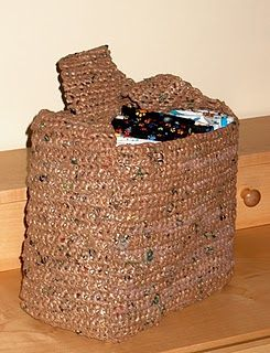 This bag is made from plastic grocery bags.  I think it would make a great gift for my SIL, who is totally all about recycling...
