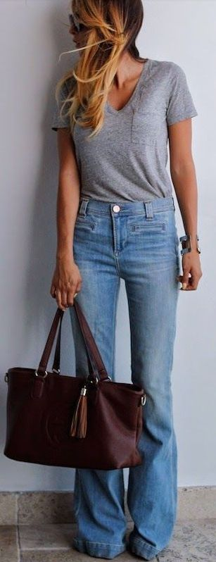 High waisted flares + tucked in tee. Try CAbi's Malibu flare and Origami Tee. Outfit idea via http://nichollvincent.blogspot.fr/2014/05/denim-era.html?m=1