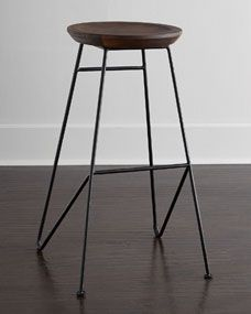 like the rustic and sculptural feel of these...blend of wood & iron - versatile for a lot of styles Palisade Iron Barstool http://www.horchow.com/Palisade-Iron-Barstool-Dining-Chairs-Barstools/c