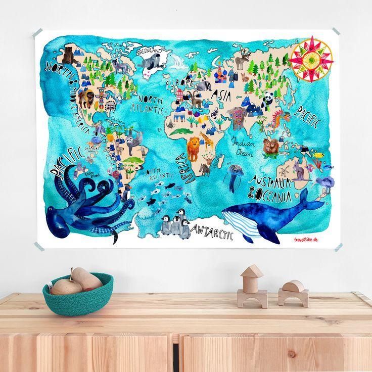 Weltkarte von Frau Ottilie #weltkarte #kinderzimmer #kinderposter #kinderzimmeri …   – Kinderzimmer: Wandgestaltung (Poster, Wandtattoos und Co)