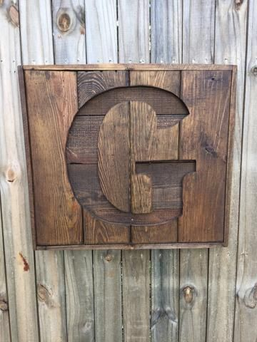 Recycled pallet initial sign- Wooden Letter sign- Monogram sign- Gift for home