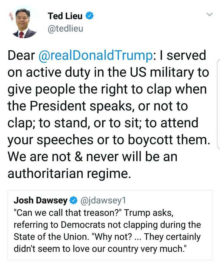 """Think people.. do you really care that democrats didn't clap? Pretty sure the republicans are the snowflakes and need to stop throwing hissy fits at every turn... """"oh, I had the biggest inauguration """"... """"oh, Nobody clapped at my speech""""... just shut up already and do something worthy of America! We know this guy is a piece of crap liar.. stop covering for him! Were you aways this way and just hid it until this guy gave you and excuse to be hateful, mean spirited, tiny minded, spineless…"""