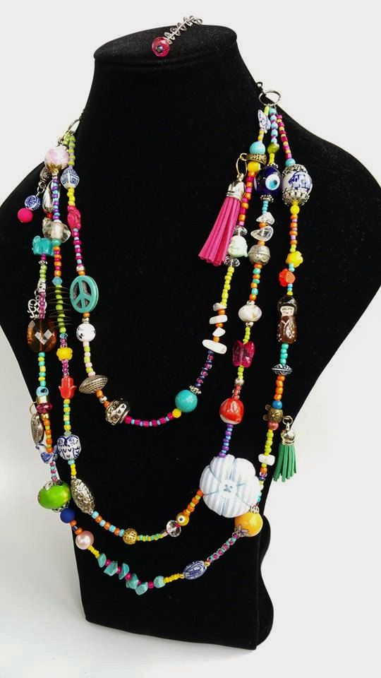 Chunky Necklace  layered necklace  colorful neckart by TresJoliePT