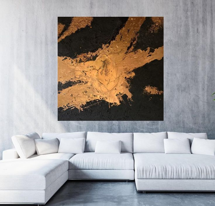 Melted gold 48x48 inch Mixed Media piece with Sandstone & Resin