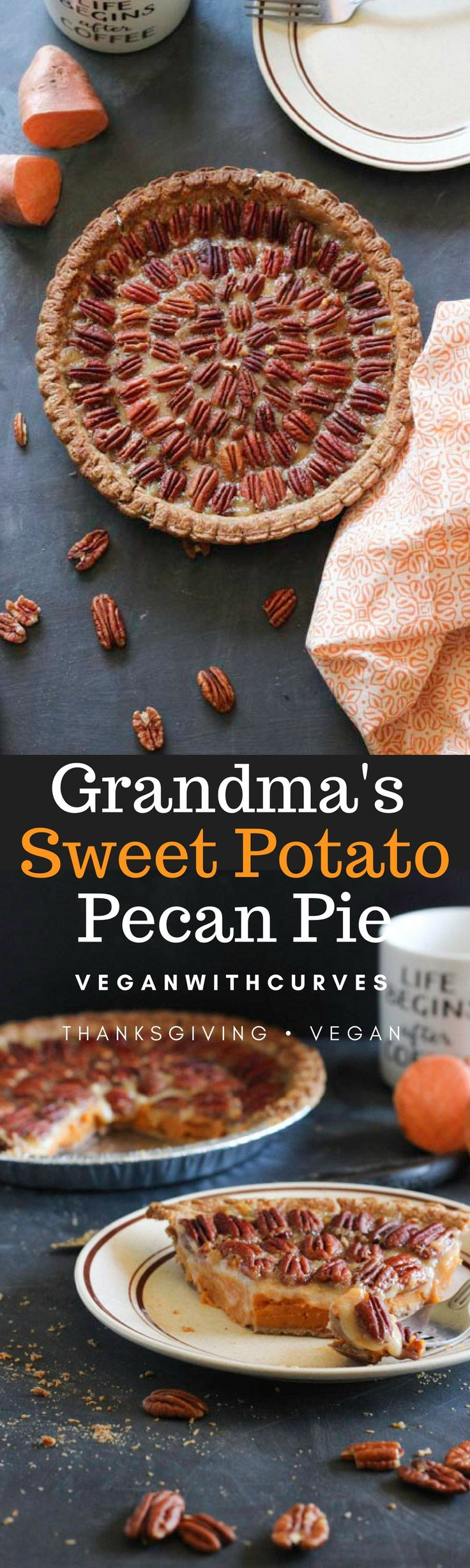"""Editor's Note: This recipe has been updated. Old pictures of original post are below. """"This pecan sweet potato pie is so good late at night! I knew Honey taught you well!"""" my dad tex…"""