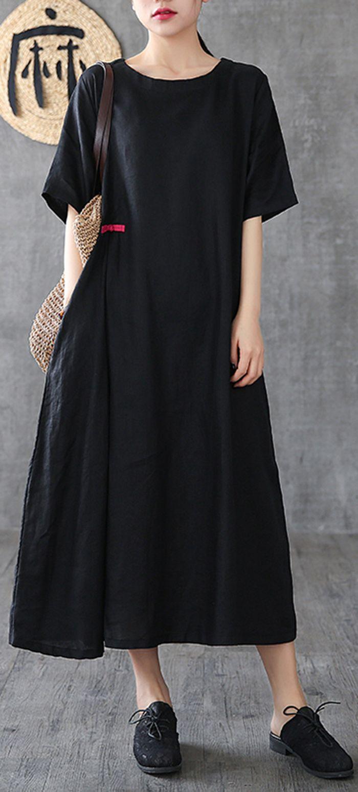 Diy Short Sleeve Pockets Linen Dress Black Dresses Casual Short Sleeve Dresses Cotton Long Dress [ 1547 x 700 Pixel ]