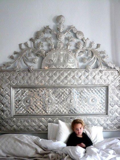 headboards by Dering Hall: Idea, Beds Head, Metals Headboards, Haciendas, Bedrooms Furniture, Tins Headboards, Decor Blog, Shabby Chic Bedrooms, Tins Art