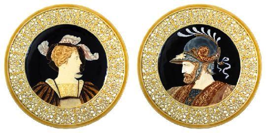 Zsolnay - Falitál-pár, nő- és férfiportréval, 1890 Dekorterv: feltehetően Klein Ármin 2007/ká 700e