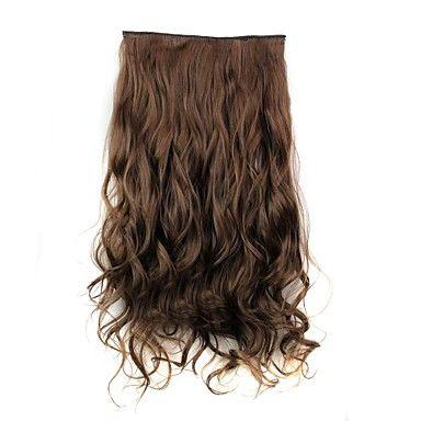24+polegadas+120g+longa+de+fibra+sintética+resistente+ao+calor+clipe+encaracolado+castanho+em+extensões+de+cabelo+com+5+clips+–+BRL+R$+21,73