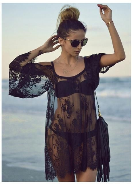 3e0149eadcf Cover ups Bikini Bikini Cover Up White Black Lace Pareo Beach Dress Hollow  Tassel Strappy Bathing Suit Beach Wear Swimsuits KO_13_1