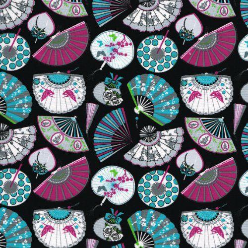 """Fans fabric 'Fan' collection (Grey / Black) - mini design - French Fabric Cotton 140CM / 55"""" Wide - Per Half Metre Textiles français http://www.amazon.co.uk/dp/B00JIRFBOQ/ref=cm_sw_r_pi_dp_luD4wb1G0M09R"""