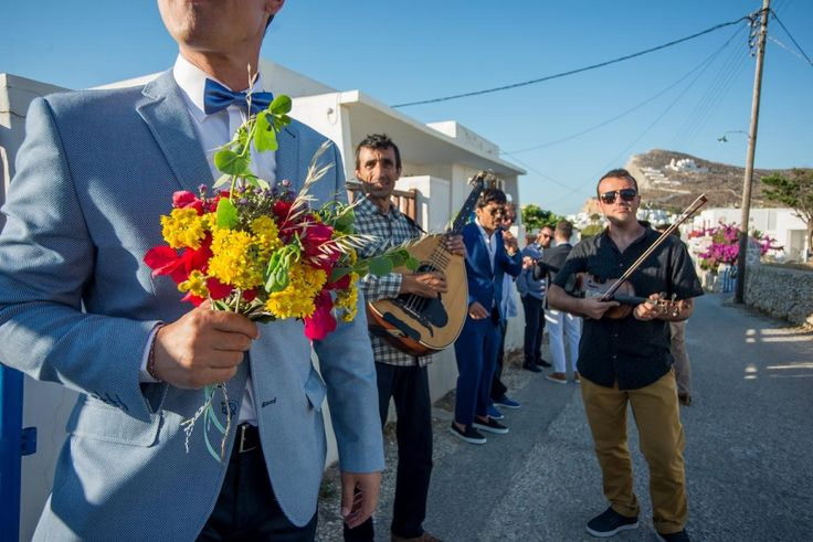 'Folegandros Wedding Panigiri'  bride bouquet greek traditional band| lafete