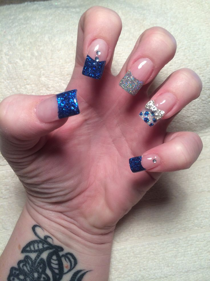 Blue silver & white acrylic nails with embedded bows