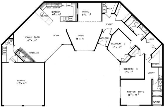2 bedroom u shaped floor plans with courtyard | Carnaby Creek Contemporary Home Plan 085D-0280 | House Plans and More