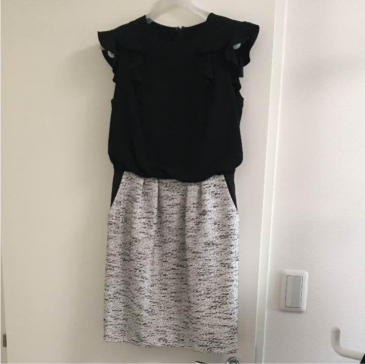 トップス部分はポリエステル100パーセント スカート部分はポリエステル45、アクリル30、綿25パーセント スカート部分のみ裏地付き トップスは黒、スカートは黒と白のツイード風デザインです。ポケットあります。 丈87〜88センチほど 上からスカートの境目まで40センチほど 2、3年ほど前に東京・表参道のセレクトショップで購入。お出かけ時に数回着用しました。 格好良さと女性らしさを兼ね備えているデザインと思います。