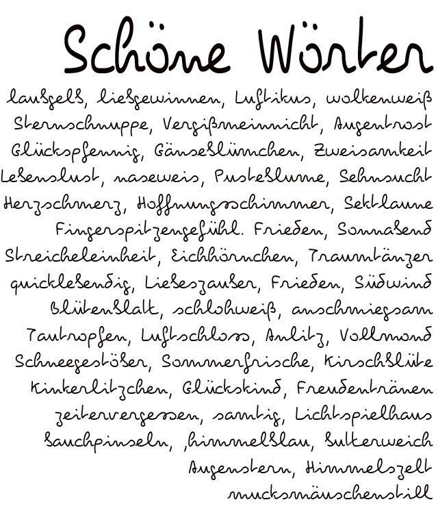 """Schöne Wörter, entdeckt auf dem Blog """"was eigenes"""""""