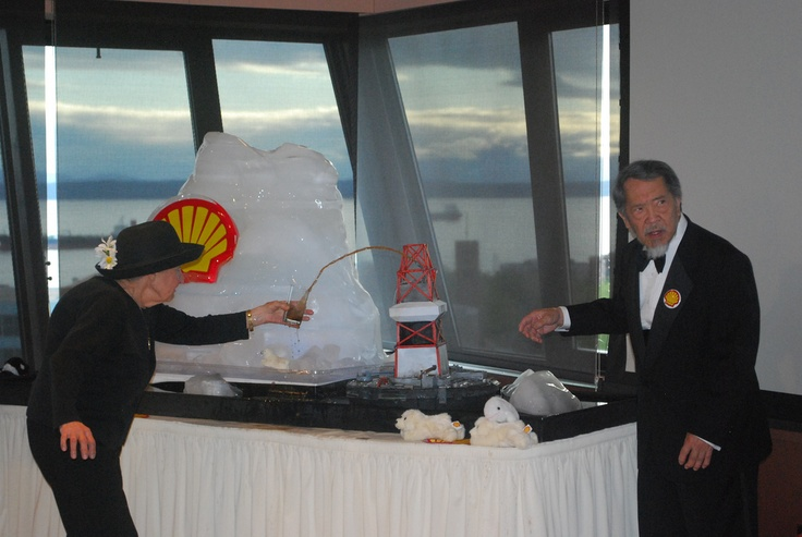 If you're going to prank a huge oil company, stay classy: wear all black to be a #shellfail Widow, or rock your best tux  as the Master of Ceremonies.