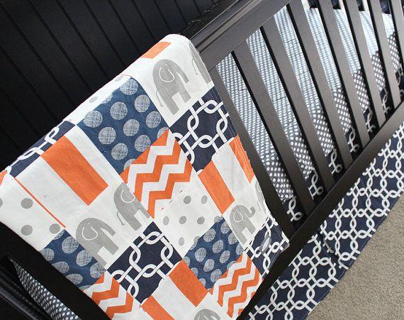 25 best ideas about elephant crib bedding on pinterest - Navy blue and orange bedding ...