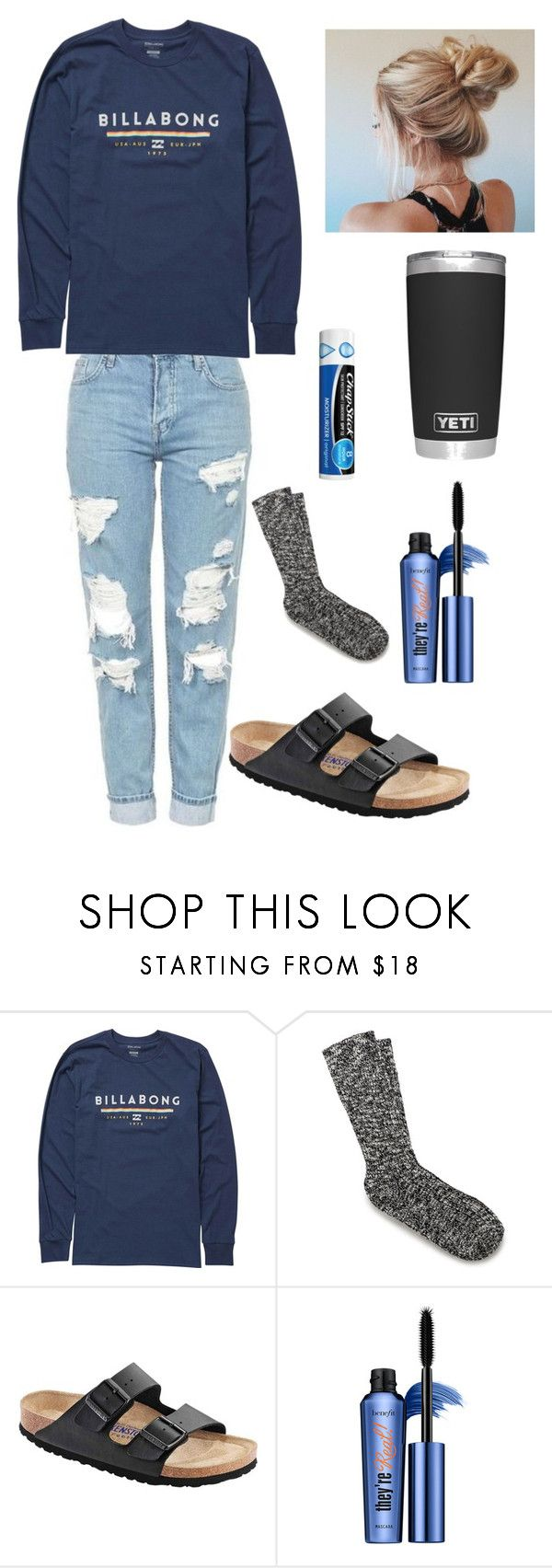 """Chill school outfit"" by lagr on Polyvore featuring Billabong, Birkenstock and Benefit"