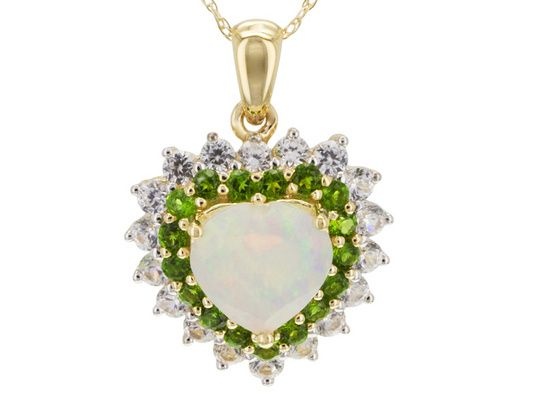 .79ct Ethiopian Opal With .39ctw Chrome Diopside And .82ctw White Zirc