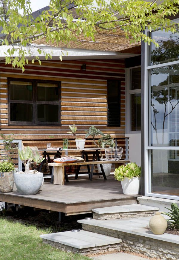 North facing protected timber terrace/deck.  Photo - by Angelita Bonetti, styling – Anna Flanders.