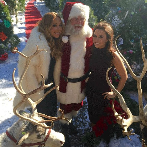 Mariah Carey & Lacey Chabert from Stars Celebrate Christmas 2015  That's the spirit! The Hollywood stars meet up with Santa Claus almost two months before Christmas.
