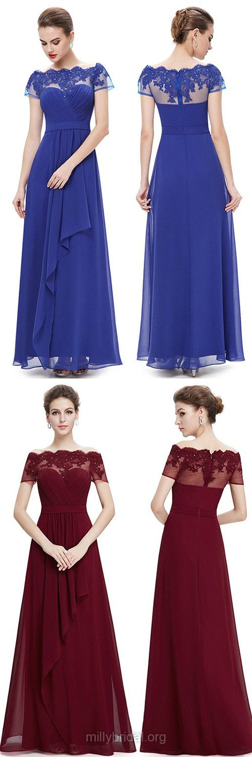 Royal Blue Prom Dresses, Long Prom Dresses, Scalloped Neck Formal Dresses, Chiffon Appliques Lace Party Gowns, Ankle-length Short Sleeve Evening Dresses