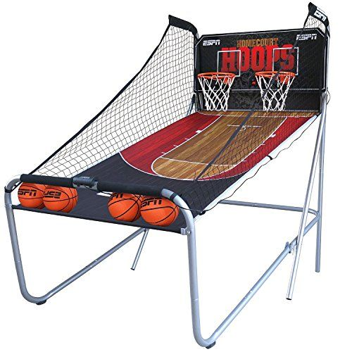 Electronic Basketball Game - ESPN 2-Player Basketball Game. Up to 4 players can play 8 different programmed games. 7′ size basketballs are easy to shoot and a black polyester ball-return chute is sturdy and easy to assemble. Play up to 8 different games and keep track of your score with the digital scorer