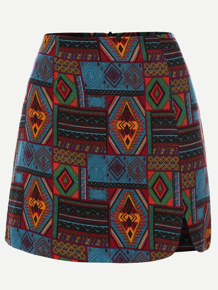 Jupe imprimé tribal tendance - multicolore-French SheIn(Sheinside)