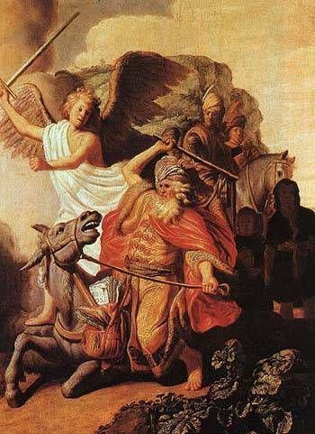 렘브란트  천사 앞에서 뒷걸음질치는 당나귀, 1626  판 유채, 65 x 47 cm.  파리 코냑제이 미술관      빛의 화가라고 불리는 렘브란트의 가장초기 작품이다.  고전주의 화가에게 6개월 동안 사사받으며 회화적 기초를 다졌었다.  그런 고전주의 화풍에서도 렘브란트의 작품은 확실히 차이가 난다. 풍부한 빛의 표현이 화려함을 더한다.  재밌는 것은 이 작품에서 표현된 길이 막힌 발람이 앞으로 경제적으로 어려움을 당하는 렘브란트와 많이 닮았다.