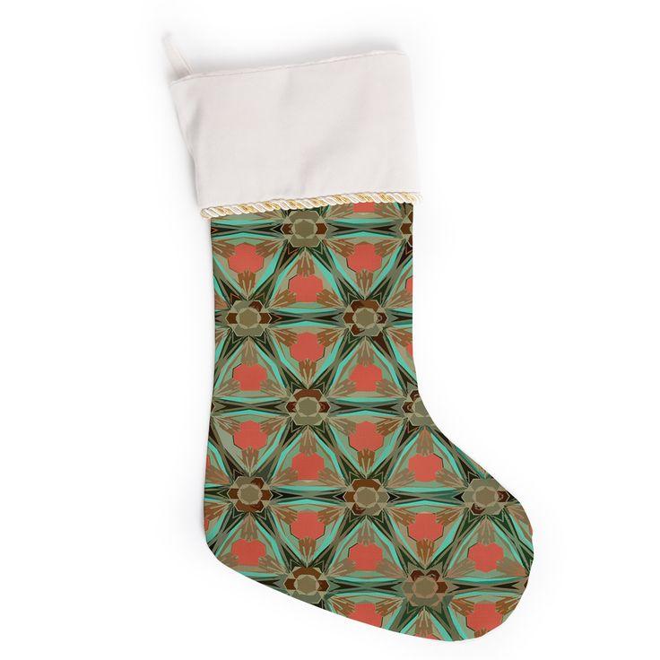 "Alison Coxon ""Moorish Earth"" Teal Orange Christmas Stocking"