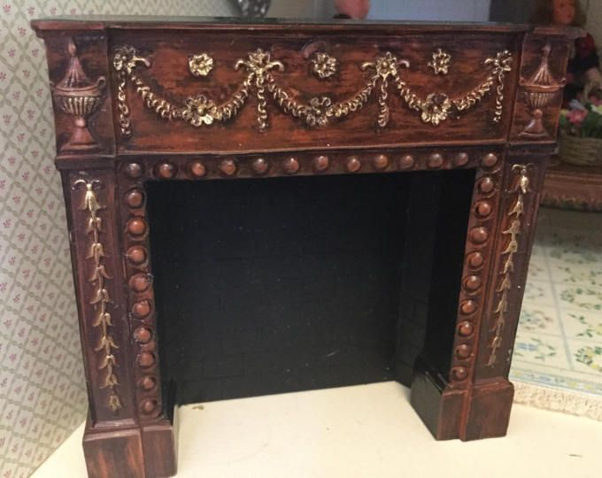 Dollhouse Resin Fireplace in Rosewood by Falcon Miniatures