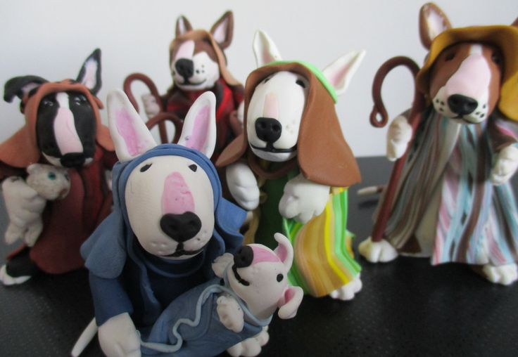 Nativity set , english bull terrier , 5 characters , Mary with baby &… Más