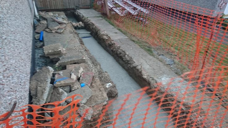 Day 8 - Footings for side extension filled in. Delivery of blocks, bags of cement, ballast and such like arriving Thursday 4th May 2017