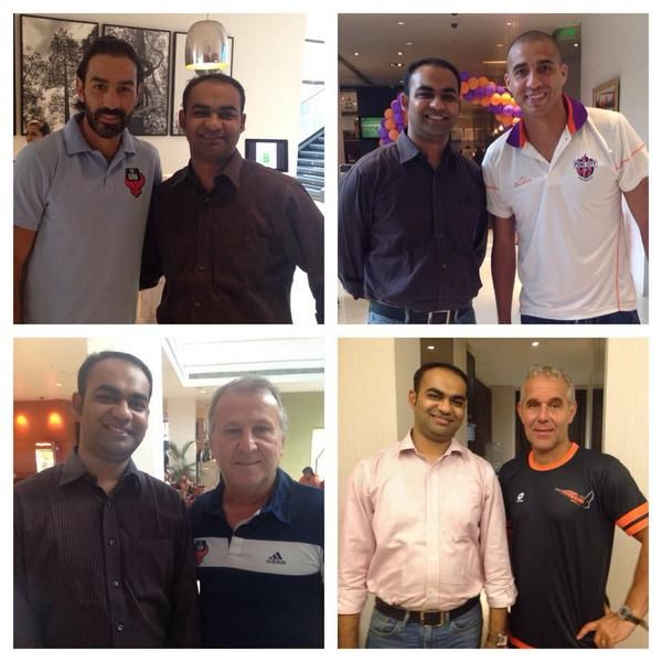 Venugopa Rajagopalan (Sportstec India) with our customers & football legends from the @IndSuperLeague!