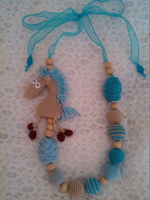 Sling necklace sling beads teething beads nursing por OmGanchillo