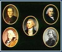 """The """"Committee of Five"""" assigned to draft the Declaration of Independence ( Thomas Jefferson, John Adams, Benjamin Franklin, Roger Sherman, Robert R. Livingston)"""