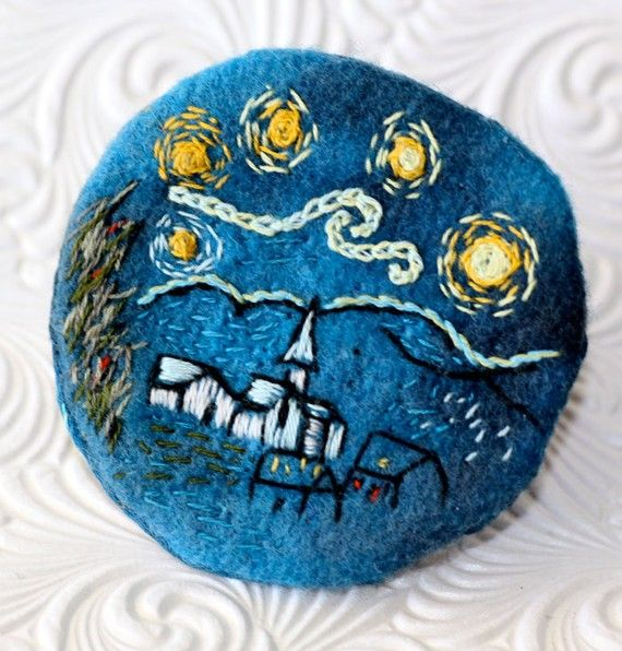 Hand Embroidery Starry Night Brooch