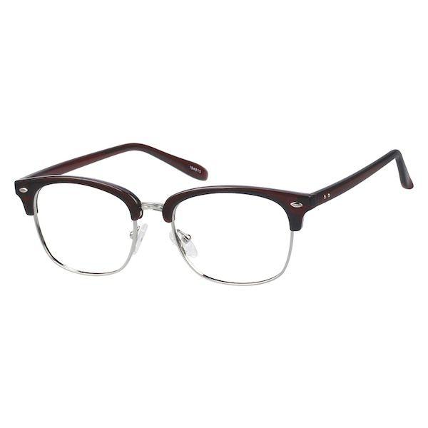 Zenni Retro Browline Prescription Eyeglasses Brown Mixed Materials